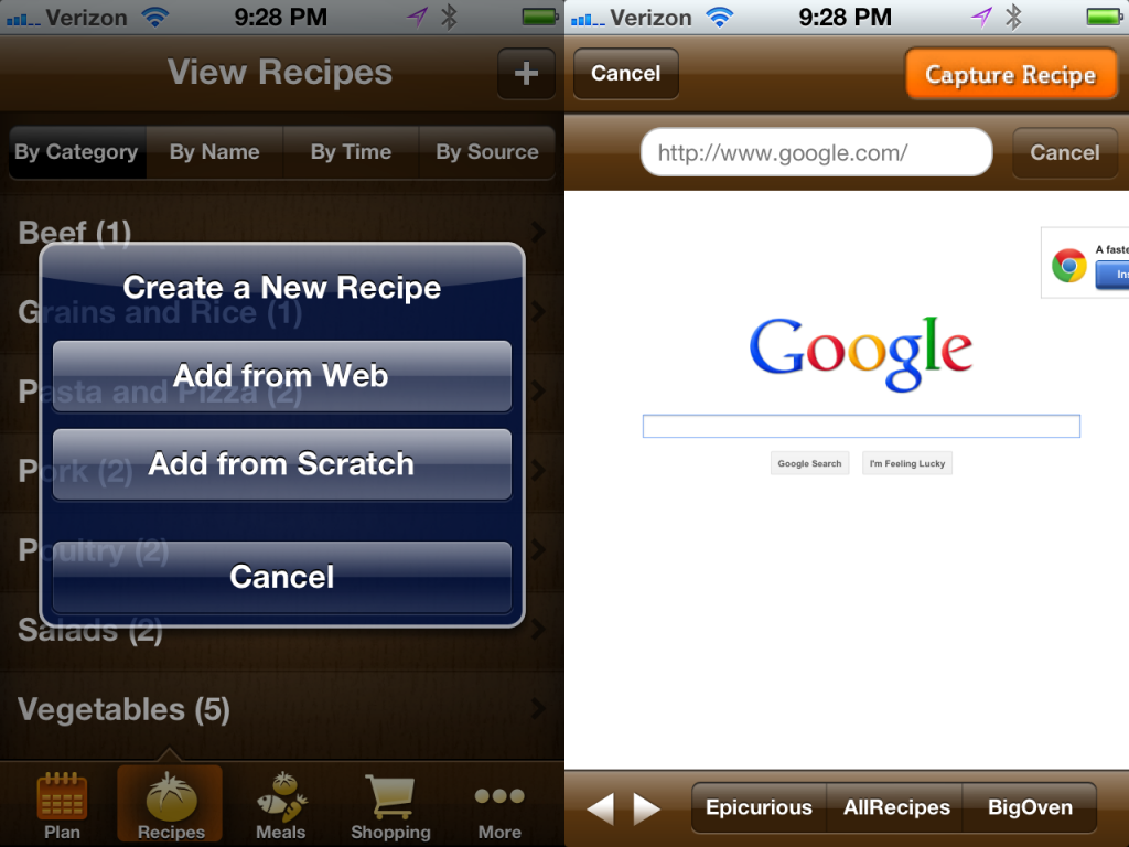 Internet Recipe Capture Combined Screenshot