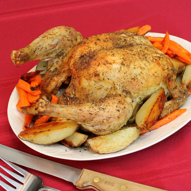 Roast Potatoes And Carrots With Chicken