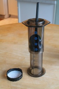 Turning an AeroPress upside-down allows for longer, controlled steeping without drainage.