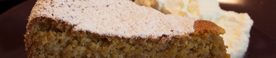 Pumpkin Almond Cake Slice Close-Up