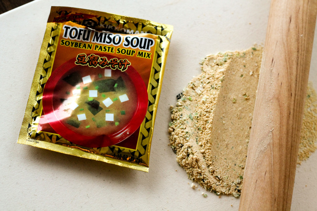 Crushing Miso Soup Mix With Rolling Pin